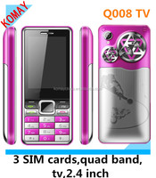 KOMAY q008 cellphone tv 3 sim cards mobile phone with quad band cellphone