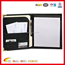 2015 Deluxe Black leather Padfolio,padfolio with Gold Accents,leather padfolio wholesale
