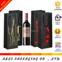 customized logo luxury hot stamping PVC window paper gift wine bottle bag with paper wine bag