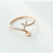 Romantic Plain Design Gold Plated Little Heart Female Love Cross Ring