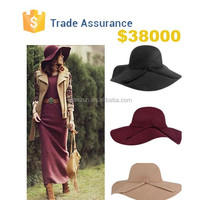 Wholesale - Fashion Women Lady Wide Brim 100% Wool Felt Fedora Floppy Hats