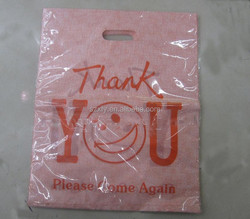 Customized printing die cut plastic shopping bag
