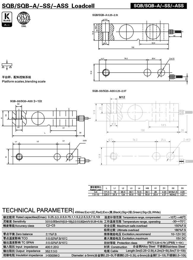 Keli Sqb Single Shear Beam Load Cell For Platform Floor