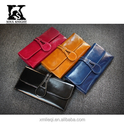 SK-6118 fashion full grain lady trifold leather wallet first choice in 2016
