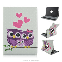 Night Owl Family on Tree Printed Rotatable Folio Stand PU Leather Cover Case For iPad Air 2 or iPad 6 with Elastic Belt