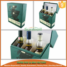 3 pack wine bottle packaging gift box with compartment