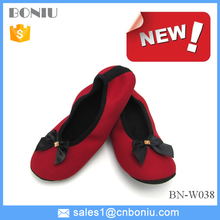 red color bowknot women dance shoes with waterproof outsole