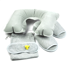 Inflatable Travel Pillow Set With Ear Plugs & Sleep Mask Neck Rest Soft Cushion