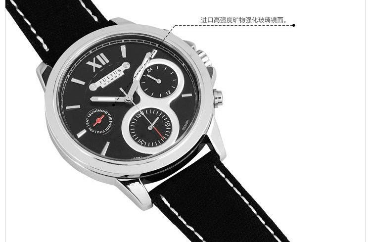 Men's Homme Wrist Watch Quartz Hours Best Fashion Dress Korea Bracelet Fabric Band Clock Gift Julius JAH055