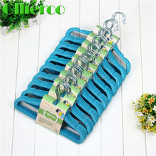 2015 Ollieroo Wholesale Non-slip ABS Plastic flocked Velvet suit Hangers with black/blue/red color