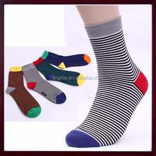 Father's Day Gift New Elastic Stripes Dress Socks Mid Calf Cotton Dress Sock Men, Custom Mid Calf Socks For Man