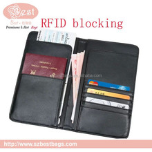 2015 high-quality new style RFID blocking leather men's rfid passport wallet