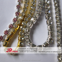 crystal cup chain rhnestone trimming ,mesh trimming of rhinestone chain rolls for dancing shoes decor