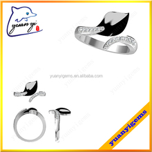Yuanyi jewelry large size black gold plated silver long finger rings one leaf ring