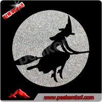 Best Seller Halloween Iron-on Glitter Witch Heat Transfer Vinyl Film Wholesale for Kids Shirt