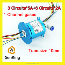 Hydraulic Pneumatic electrical rotary joint 3 wires 5A+6 wires 2A with 1 channel gases tube size 10mm