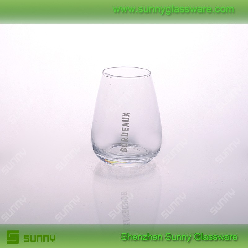 Lead free hand made stemless wine glasses