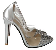 Stone Heels silver leather spike studs cap toe red bottom ankle strap pumps stiletto 120 mm high heels