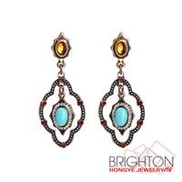 Turquoise Stone Drop Earrings Women Jewelry E3-10933-2820