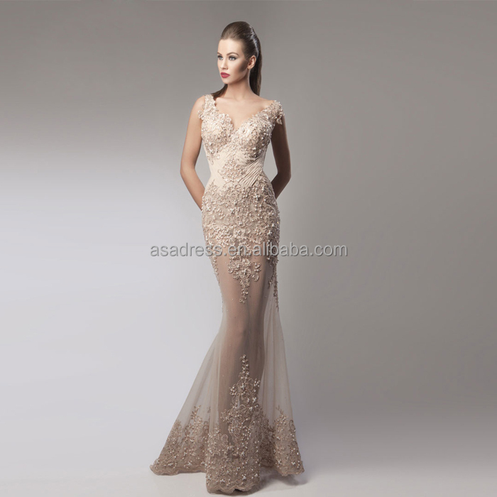 HTJ18 unique elegant Nude maxi Open Back Exquisite evening Gowns ...