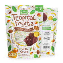Trade assurance dark chocolcate tropical fruits bag with ziplock,resealable stand up dark chocolcate pouch with clear window