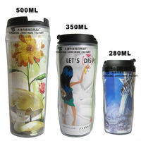 2013 New Products Double Wall Plastic Mug With Photo Inserts