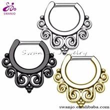Titanium Shaft Nasenring Septum Clicker Nase Hoop Ring Ohr Piercing Ring Tribal Vintage Shield