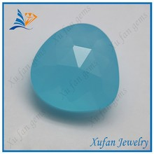 China wholesale trillion cut blue glass gem stone