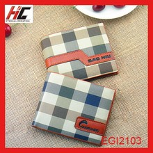 yiwu wholeasle high quality leather fashion short men's wallet with plaid leather money clip