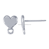 heart shaped silver Earrings Parts
