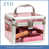 Wholesale Pink Aluminum +Acrylic Cosmetic Box Transparent Makeup Case For Cosmetics ZYD-HZMmc035