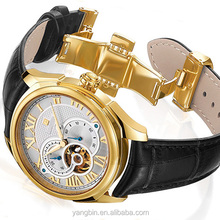 2015 Skeleton automatic mechanical watches leather band mens watches made in china
