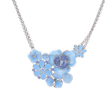 Antique Summer Big Flower Design Resin and Rhinestone choker Necklace