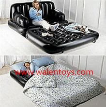 High Quality Comfortable inflatable flocked 5 in 1 sofa/ bed,with custom logo