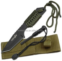 Black Tanto tip Fixed Blade survival Knife with Paracord Wrapped Handle and OD Nylon Sheath and fire starter