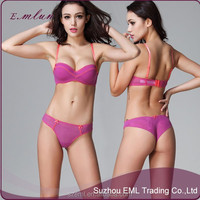 Young Lady sexy fancy new design push up bra and panty set / Women underwear set