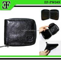 Wholesale trends high quality zipper leather wallet men purse