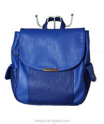 2015 fashion PU leather blue backpack bags