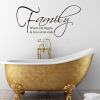 Hot Non-toxic Waterproof Environmental-protection Family-Life Begins Love Never Ends Removable Vinyl Wall Decal Sticker Bedroom