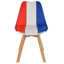Design wood leg chair/ plastic seat with cushion dining chair