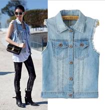 EY0585A 2015 women fashion Retro joker sleeveless denim vest