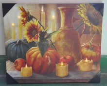 Home decoration hot products in 2015 sunflowers candles and pumpkins art canvas art printing with led lights