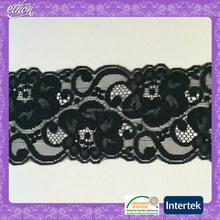 black 100 nylon knitted fancy lace ribbon for lingerie