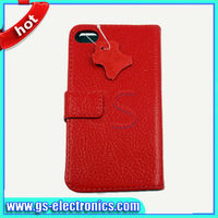 2013 new phone accessory flip smooth genuine leather case for iphone 5