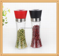 glass spice & pepper mill with ceramic mechanism/manual glass spice grinder