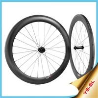 Yishunbike 700c bicycles carbon wheels 16-32 hole Straight Pull road bike wheels 60mm tubular carbon fiber wheels SL60T