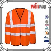 Cheap unisex high visibility long sleeve reflective safety vest