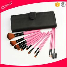 12 pcs pink make up brush set with PU leather bag
