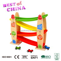 Wooden Toy EN71 Best of China Rolling Slope with 3 Cars Rolling tower for kids