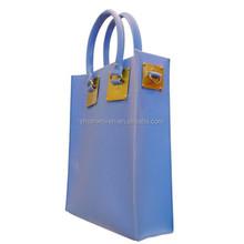 Purple COLOR PVC shopping bag glossy shopper tote harrod customized bag high quality